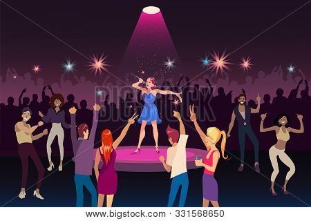 Concert Performance, Disco Party With Modern Music, Nightlife Youth Event Concept. Young Woman Singi