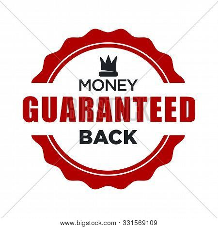 Money Back Guaranteed Red Stamp Template With Crown Icon