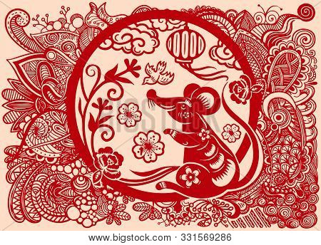 Chinese New Year 2020 Year Of The Rat , Paper Cut Rat Character,