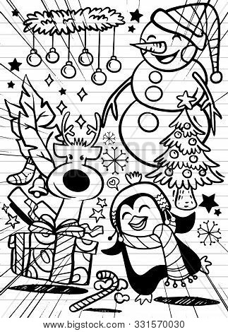 Hand Drawn Christmas Icon's Set Doodle, Vector Illustration