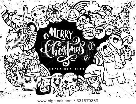 Christmas Design Element In Doodle Style,merry Christmas And Hap