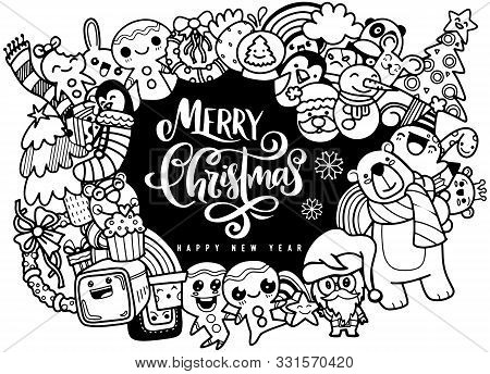 Christmas Design Element In Doodle Style,merry Christmas And Happy New Year