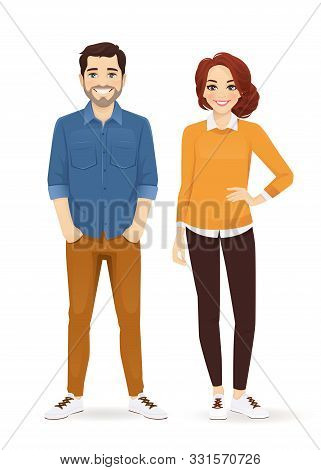 Business Team. Casual Business Man And Woman Standing Isolated Vector Illustration