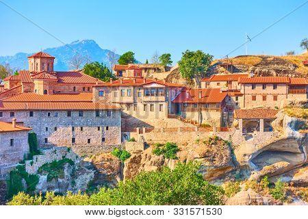 Buildings of The Monastery of Great Meteoron on the rock in Meteora, Greece