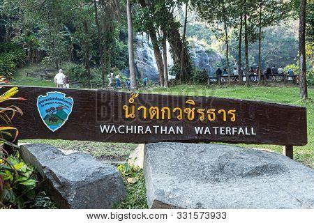 Chiang Mai, Thailand - February 22, 2019: Wachirathan Waterfall At Doi Inthanon National Park, Mae C