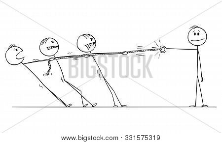 Vector Cartoon Stick Figure Drawing Conceptual Illustration Of Group Of Businessmen Playing Tug-of-w