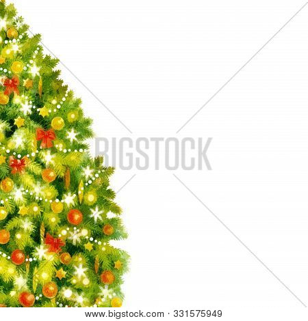 Christmas Tree With Decoration, Hand Paint Watercolor Illustration For Greeting Card, Invitation, De