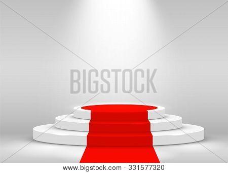 Stage Podium Scene For Award Ceremony Illuminated With Spotlight And Red Carpet. Award Ceremony Conc