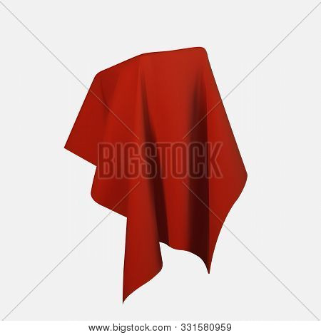 Realistic Drapery Fabric 3d. Box Covered With Red Silk Cloth Isolated On White Background. Box Of Tr