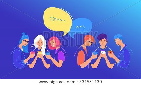 Social Media Chat Or Opinion Poll Concept Flat Vector Illustration. Teenage Boys And Girls Using Mob