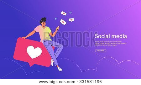 People Using Social Media Concept Vector Illustration. Young Man Sitting On Big Bubbles With Heart S
