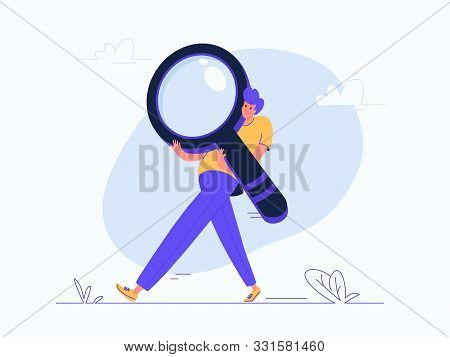 Young Man Carrying Heavy Magnifier. Flat Modern Concept Vector Illustration Of Burden Of Online Sear