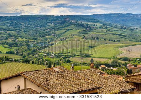 Amazing Landscape With Roofs Of Orvieto And Hills.
