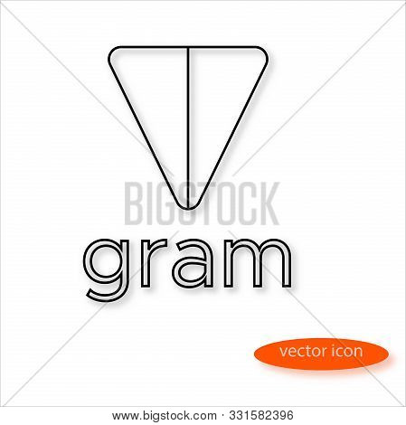 Variant Gram Cryptocurrency Symbol In Thin Line Casting A Shadow, Vector
