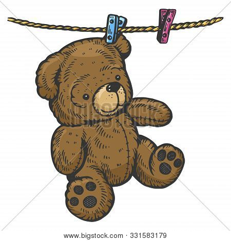 Teddy Bear Drying On Rope Sketch Engraving Vector Illustration. Scratch Board Style Imitation. Black