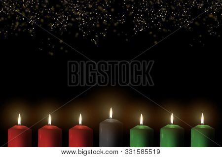 Kwanzaa For African-american Cultural Holiday Celebration With Candle Light Of Seven Candle Sticks I