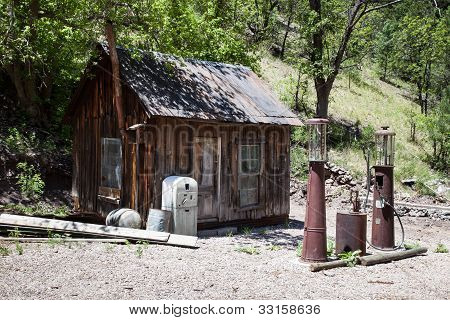 Abandoned Gas Station in the Ghost town of Mogollon, New Mexico poster