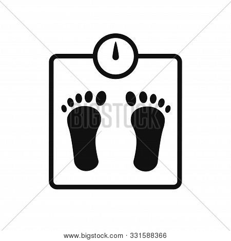 Weight Scale Icon Isolated Vector Element. Scale With Foot Print Icon. Kilogram Weight Graphic Icon.