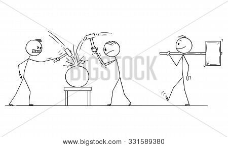 Vector Cartoon Stick Figure Drawing Conceptual Illustration Of Two Men Or Businessmen Beating An Obj