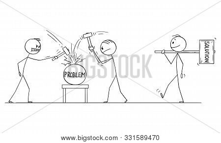 Vector Cartoon Stick Figure Drawing Conceptual Illustration Of Two Men Or Businessmen Beating Proble