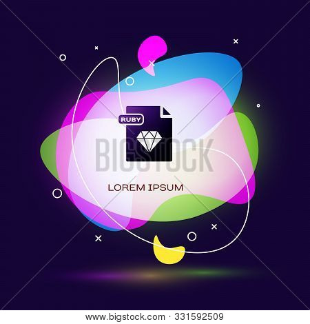Black Ruby File Document. Download Ruby Button Icon Isolated On Dark Blue Background. Ruby File Symb