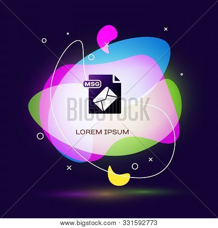 Black Msg File Document. Download Msg Button Icon Isolated On Dark Blue Background. Msg File Symbol.