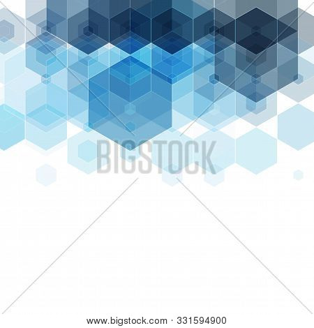 Geometric Background. Template Brochure Design. Blue Hexagon Shape Vector Abstract Background