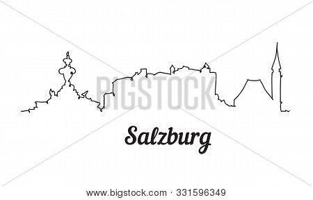 One Line Style Salzburg Skyline. Simple Modern Minimalistic Style Vector.