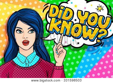Concept Of Interesting Facts. Girl With Index Finger Up With Did You Know Message