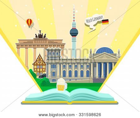 Concept Of Travel To Germany Or Studying German. German Flag With Landmarks In Open Book.