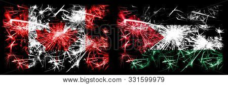 Canada, Canadian Vs Palestine, Palestinian New Year Celebration Sparkling Fireworks Flags Concept Ba