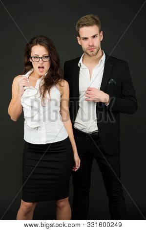 How To Attract A Boss. Boss Man And Sensual Female Coworker In Formalwear. Couple Of Handsome Boss A