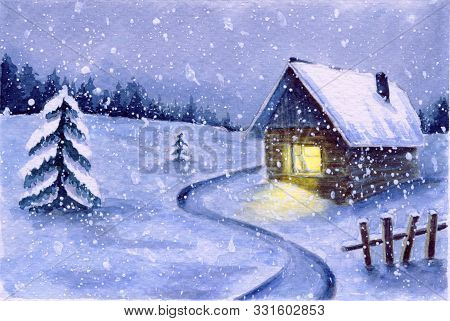 Watercolor Winter Snowy Night Landscape. Cute Night Snowfall Scene Outdoor. Country House With Light