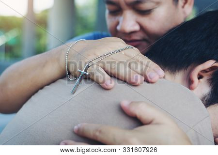 Male People Christian Adult Health Care Hug To Friend Team Support And Encourage Anointed Believe Wi