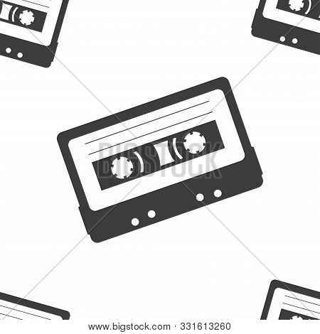 Cassette Magnetic Tape Seamless Pattern Black And White Vector Illustration Minimalist Style Nostalg