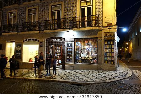 Lisbon, Portugal 14 April 2019: Livraria Bertrand In Lisbon At Night. This Is The Oldest And Largest