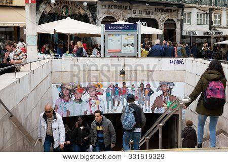 Lisbon, Portugal 17 April 2019: Passengers Entering And Leaving The Subway Station At Baixa Chiado I