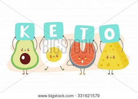 Cute Happy Avocado,egg,red Fish And Cheese Hold Keto Sign. Isolated On White Background. Vector Cart