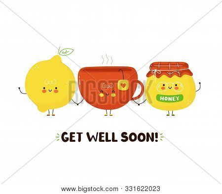 Cute Happy Tea Cup,honey And Lemon. Isolated On White Background. Vector Cartoon Character Illustrat