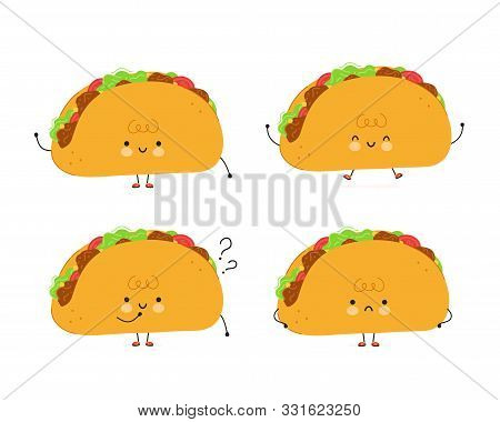 Cute Happy Taco Set. Isolated On White Background. Vector Cartoon Character Illustration Design,simp