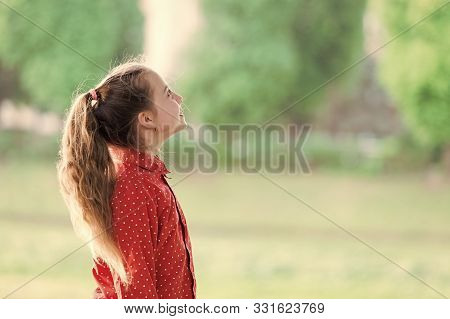 Summer Holidays. Charming Stylish Fashionable Girl In Park. Little Child Enjoy Walk In Park. Weekend
