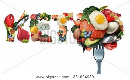 Keto Food And Ketogenic Diet As A Low Carb And High Fat Food Eating Lifestyle As Fish Nuts Eggs Meat