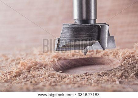 Metal Drill Bit Forstner Make Holes In A Wooden Oaks Plank