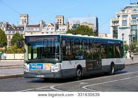 Paris, France - September 15, 2019: Urban Bus Irisbus Citelis 12m In The City Street.