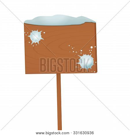 Empty Wooden Sign With Snow Cap And Snowballs Thrown At A Wood Isolated On White Background With Cop