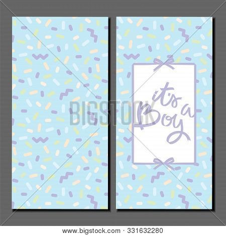 Its A Boy. Card With Back And Front Sides. Lettering On Colorful Pattern. Ribbons And Bows. Vintage