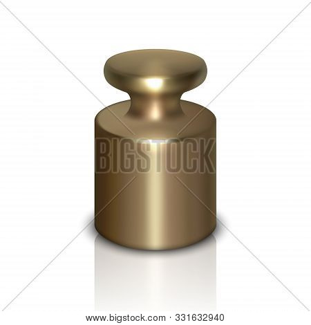 Vector 3d Realistic Metal Calibration Laboratory Weight Icon With Reflection Closeup Isolated On Whi