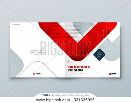 Suare Red Brochure Design. A4 Cover Template For Brochure, Report, Catalog, Magazine. Brochure Layou