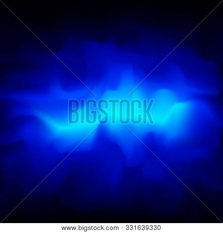 Blue Smoky Vector Abstract Background, Bright Clot Of Energy, Plasma. Glowing Cloud Of Fog On A Blue