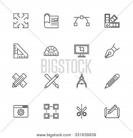 Blueprint, Engineering Outline Icons Set - Black Symbol On White Background. Blueprint, Engineering